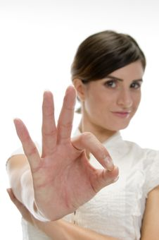 Free Lady Showing Ok Sign Royalty Free Stock Photo - 6541385