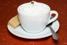 Free Cup Of Cappuccino Strewed By Grated Chocolate Stock Photography - 6541552
