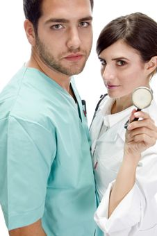 Nurse Standing With Patient Showing Stethoscope Stock Photography