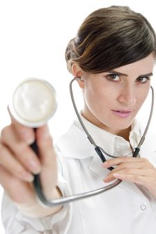 Free Lady Doctor Showing Stethoscope Stock Image - 6541711