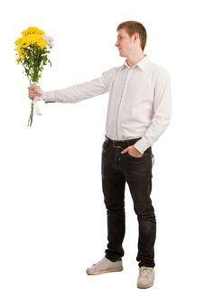 Free Man Gives Yellow Flowers Stock Photo - 6541790