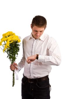Free The Man With A Yellow Flowers Royalty Free Stock Images - 6542189