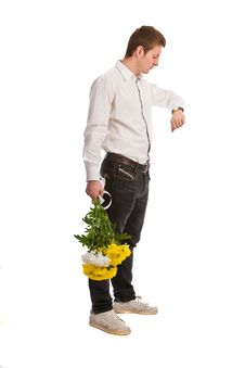 Free The Man With A Bouquet Flowers Stock Photography - 6542502