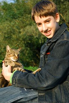 Free Boy With A Cat Stock Images - 6543024