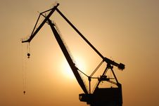 Crane At Sunset Stock Images