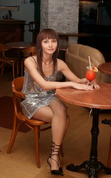 Young Woman With Cocktail Stock Photos