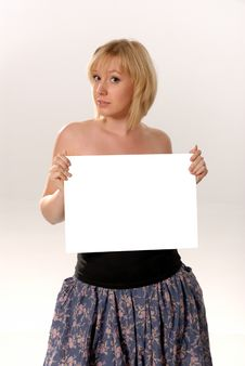 Free Woman Holding Blank Card Stock Photos - 6545423