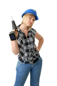 Free Girl With Power Tool Royalty Free Stock Photo - 6545435