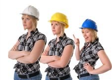 Free Female Construction Workers In Hard Hats Royalty Free Stock Images - 6545469