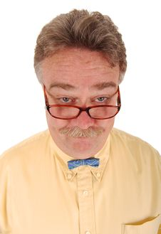 Free Smiling Man With Glasses And A Tiny Bowtie. Royalty Free Stock Images - 6545679