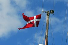 Danish Flag On Sailboat Mast Stock Photo