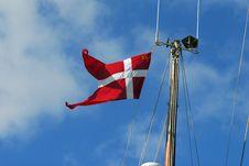 Danish Flag On Sailboat Mast