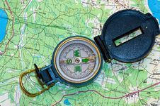 Free Compass On A Map Stock Photos - 6548253