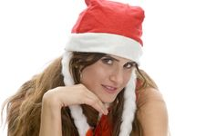 Smart Woman With Santa Cap Royalty Free Stock Images