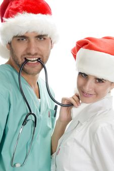 Posing Medical Professionals With Stethoscope Royalty Free Stock Image