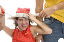 Man Pulling Cap Of Woman Stock Photos