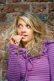 Free Pensive Beautiful Girl Royalty Free Stock Image - 6549216