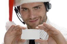 Free Santa Man Showing His Visiting Card Stock Photo - 6549590