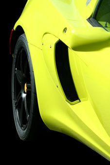 Isolated Yellow Sports Car On Black Stock Photography