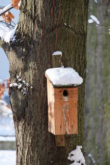 Birdhouse In Winter Scenery Royalty Free Stock Photos