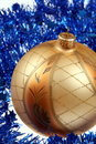 Free Golden Bauble And Blue Chain Stock Photo - 6551300