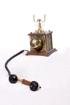Vintage Phone With Picked Up Receiver Stock Photo