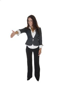 Free Standing Lady Offering Hand Shake Stock Images - 6550324