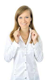Free Beautiful Fresh Young Girl In White Shirt Stock Photo - 6550430
