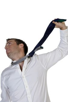 Businessman Hanging Himself To His Tie Stock Images