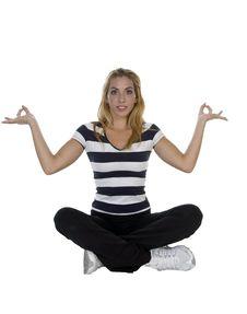 Free Lady Performing Yoga Sitting In Lotus Pose Stock Photo - 6550560