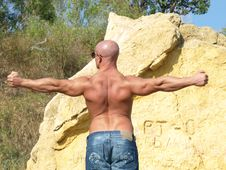 Strong Bald Man With Nude Torso Stock Images