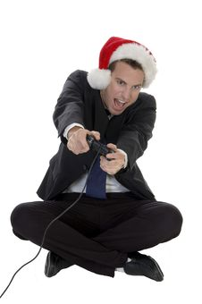 Happy Businessman Playing Video Game Royalty Free Stock Images
