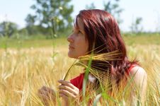 Free Girl Resting In Meadow With Rye Ears Royalty Free Stock Photography - 6550757