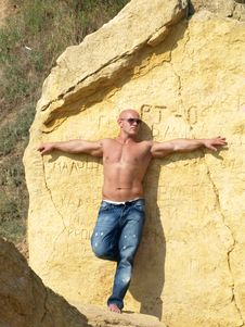 Strong Bald Man With Nude Torso Royalty Free Stock Photo