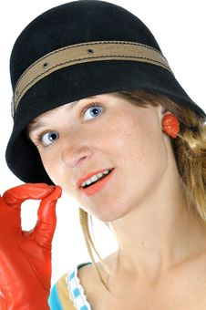 Beautiful Girl In Hat Shows OK Stock Photography