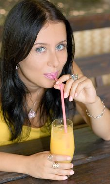 Free Beauty Girl Drink Orange Juice Royalty Free Stock Image - 6551466