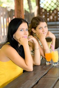 Free Portrait Two Girl And Juice Stock Photography - 6551472