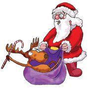 Deer And Santa Claus Stock Photos