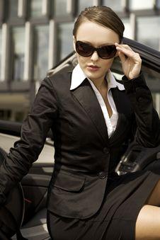 Businesswoman In A Cabrio Stock Image