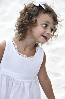 Cute Little Girl With Curly Hair Stock Photo