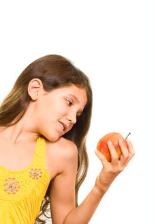 Free Teen Girl And Apple Royalty Free Stock Photography - 6555437