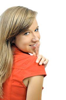 Free Smiling Girl Makes Sh-h Stock Image - 6559731