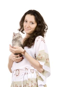 Free Young Women With Gray Kitten Stock Photos - 6559773