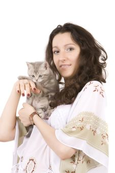 Free Young Women With Gray Kitten Stock Photo - 6559830
