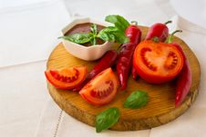 Spicy Tomato Sauce And Vegetables Royalty Free Stock Photo