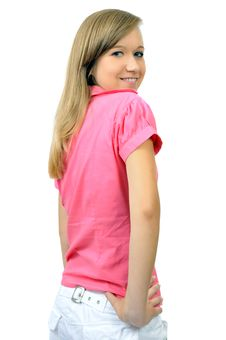 Pretty Smiling Girl In Pink Shirt Stock Photo