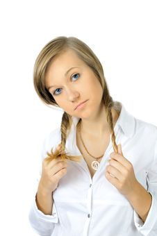 Free Portrait Of Pretty Young Girl With Two Pony-tails Royalty Free Stock Photography - 6561997