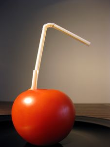 Free Straw In Tomato Royalty Free Stock Photography - 6562687
