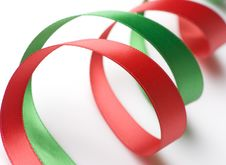 Free Red And Green Ribbon On White Royalty Free Stock Image - 6564196