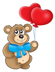 Free Teddy Bear With Heart Balloons Royalty Free Stock Photography - 6564377